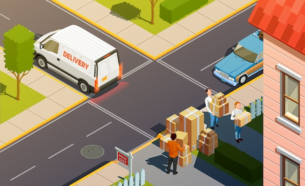 Courier service delivery composition Free Vector