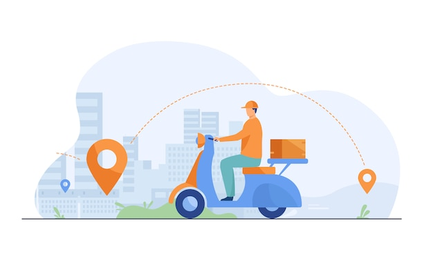 Courier shipping package at moped flat illustration Free Vector