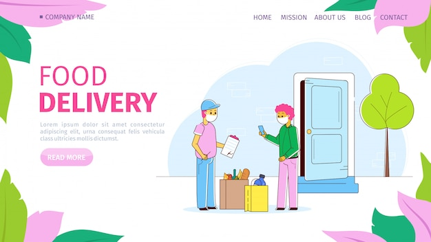 Courier with package, food delivery during coronavirus quarantine,  illustration. man deliver character order service Premium Vector