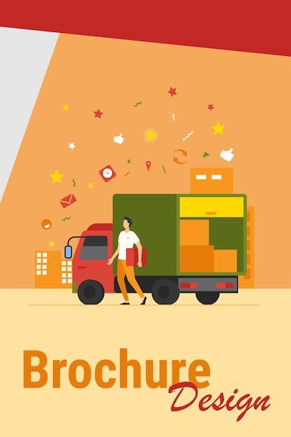 Corriere con camion che consegna l'ordine. uomo che trasporta la scatola dal camion di spedizione con altri pacchi. illustrazione vettoriale per servizio di consegna, trasporto, concetto di logistica Vettore gratuito