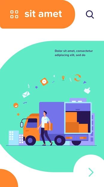 Курьер с грузовиком доставки заказа Бесплатные векторы