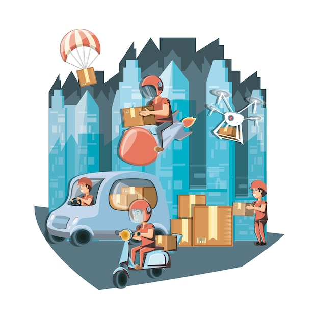 Couriers delivery service characters icon vector ilustration Premium Vector