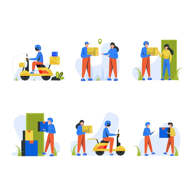 Couriers ride motorcycles and deliver goods to customers Premium Vector