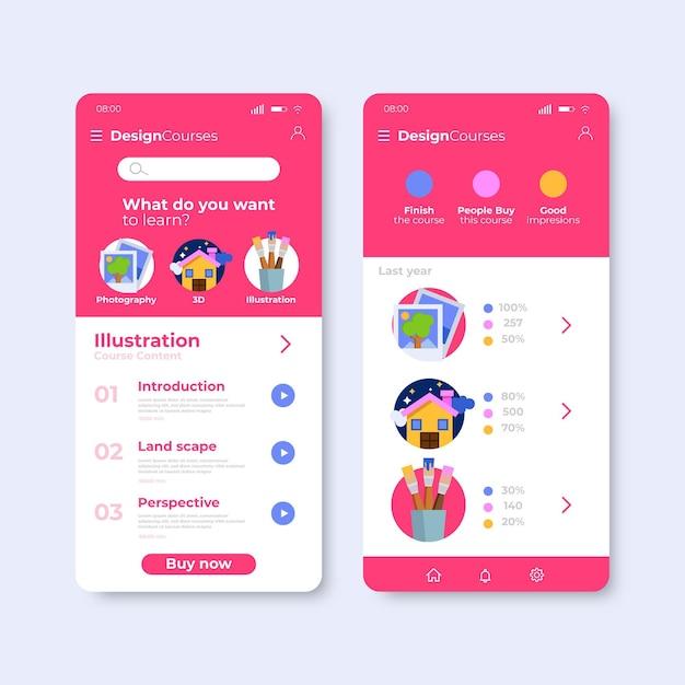Course app design Free Vector