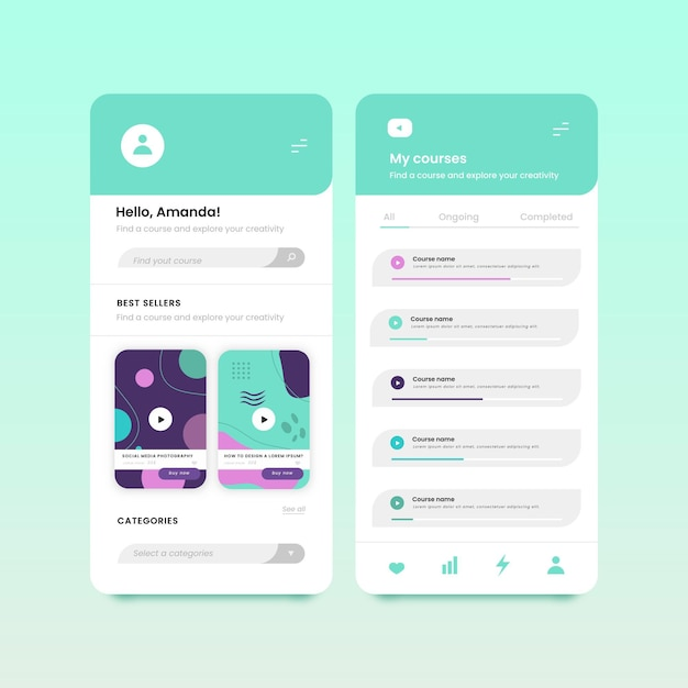 Course app interface concept Free Vector