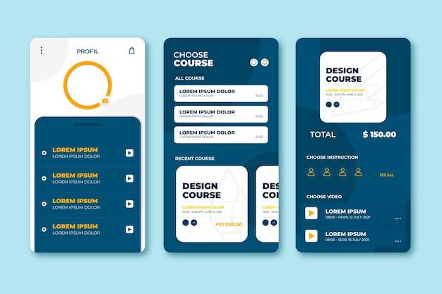 Course app interface concept Premium Vector