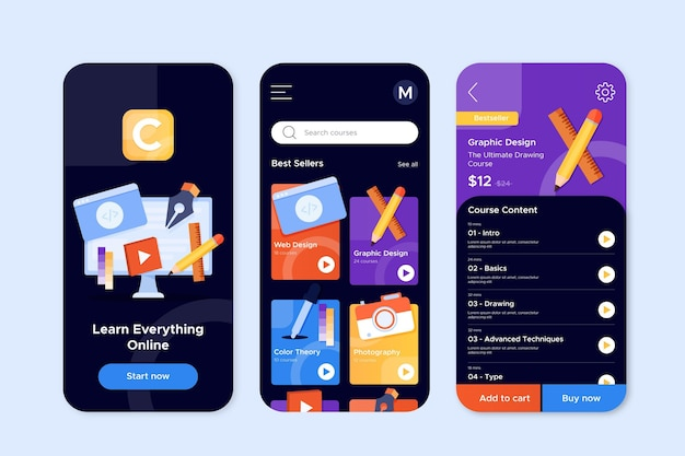 Course app interface concept Free Vector