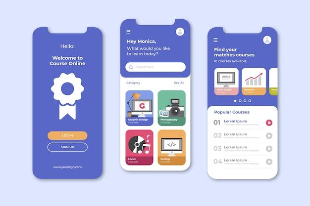 Course app screens Free Vector