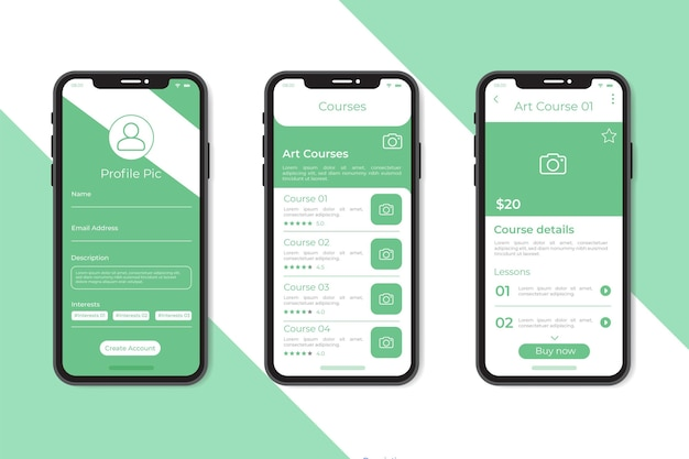Course app template collection Free Vector