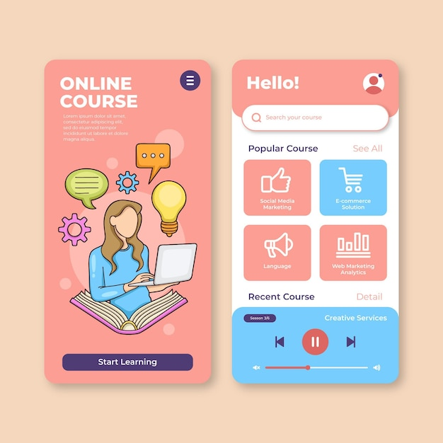 Course app template pack Free Vector