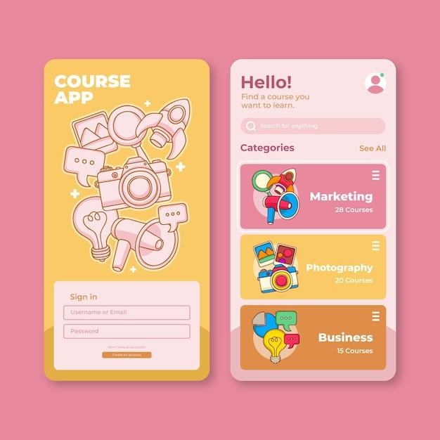 Course app template set Free Vector