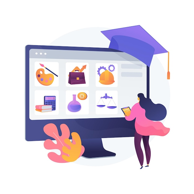 Course enrollment abstract concept   illustration. enroll in a course, apply for degree program, add to study plan, online enrollment system, registration form, new student Free Vector