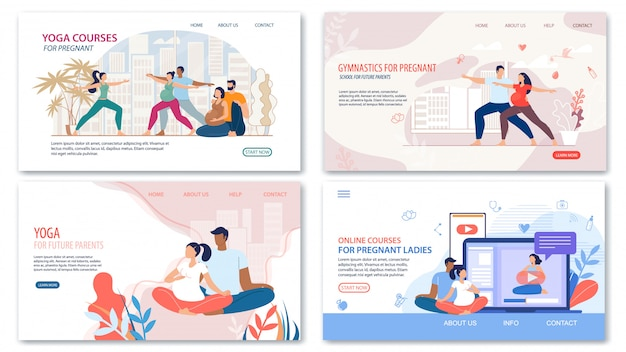 Courses and lessons for pregnant  web pages Premium Vector
