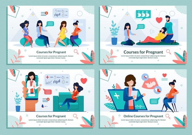 Courses for pregnant maternity classes template set Premium Vector
