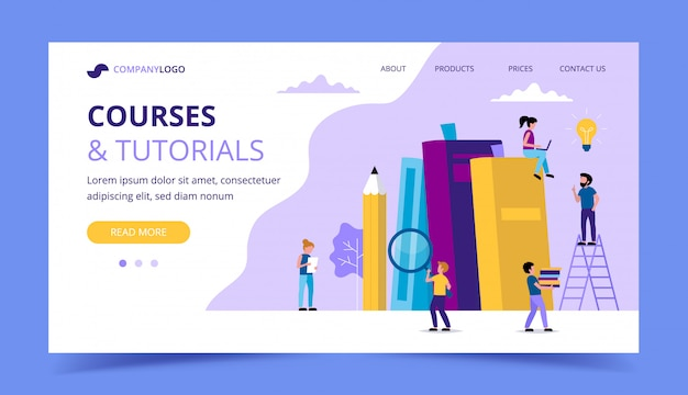 Courses and tutorials, learning landing page with books, pencil, small people characters doing various tasks. Premium Vector