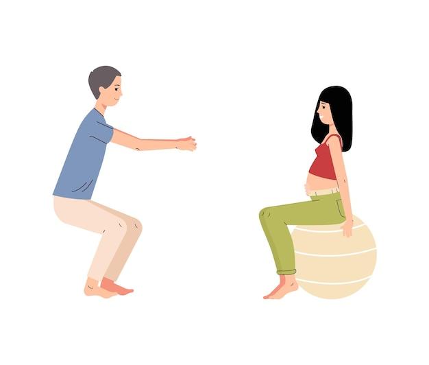妊娠中のコースヨガまたはフィットネス。一緒に運動をしている夫と妊娠中の妻。将来の両親は出産の準備をしています。フラット漫画 Premiumベクター