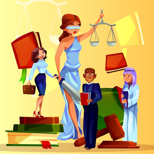 Court and legislation illustration of cartoon\ law people and symbols.