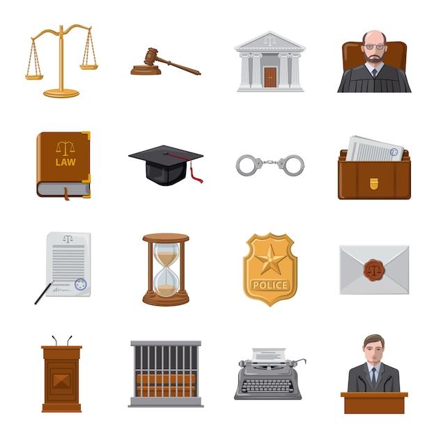 Court cartoon icon set, court and law. Premium Vector