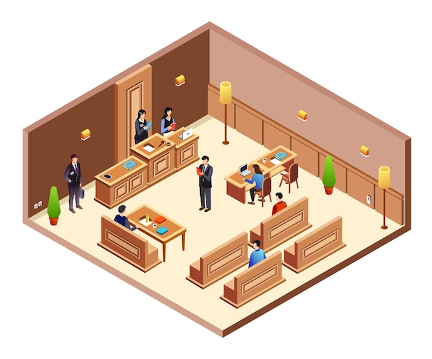Court hearing cross section illustration. isometric courthouse hall room Free Vector