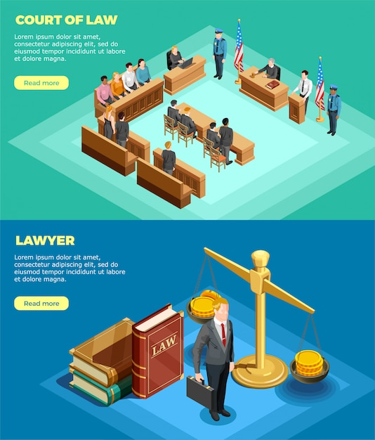 Court of law banners Free Vector