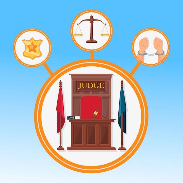 Court system symbols flat vector banner template Premium Vector