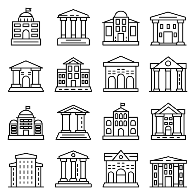 Courthouse icons set, outline style Premium Vector