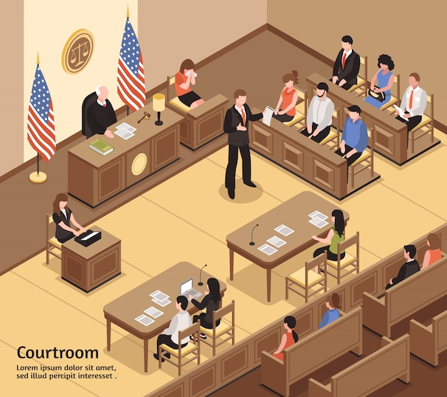 Courtroom isometric Free Vector