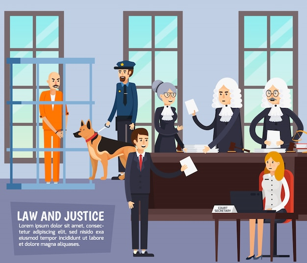 Courtroom orthogonal flat composition Free Vector