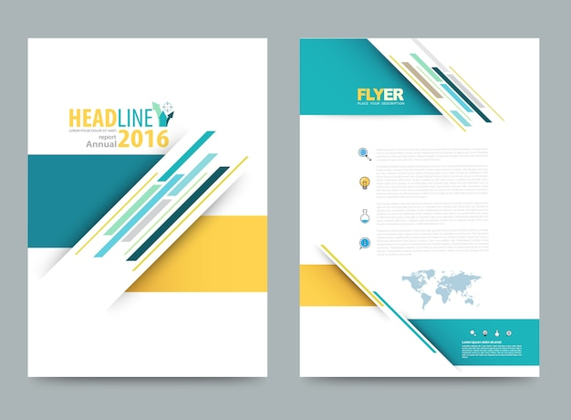 Cover annual report leaflet brochure flyer template a4 size Premium Vector