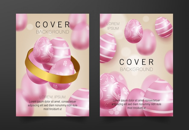 Cover background with 3d pink eggs pattern Premium Vector
