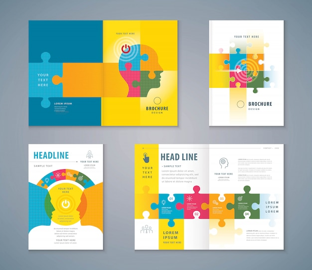 Cover book design set, jigsaw puzzle pieces and human head background vector Premium Vector