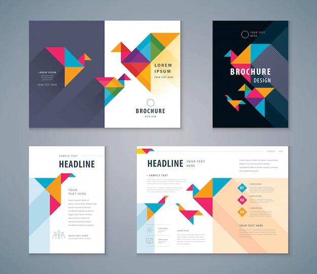 Cover book design set, paper bird background vector template brochures Premium Vector
