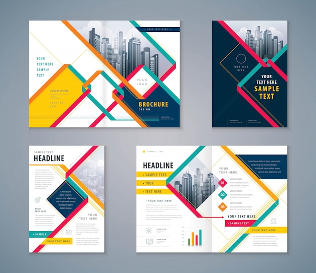 Cover book design set Premium Vector