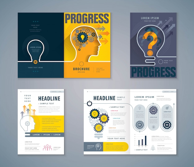 Cover book design set Premium Vector