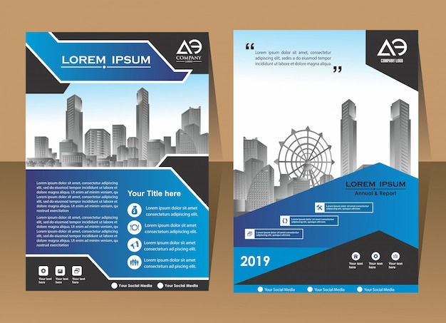 Cover brochure flyer in a4 with colourful geometric shapes Premium Vector