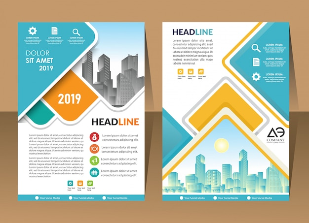 Cover brochure layout with shape vector illustration Premium Vector