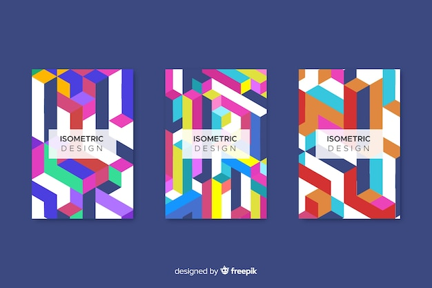 Cover collection with geometric design Free Vector
