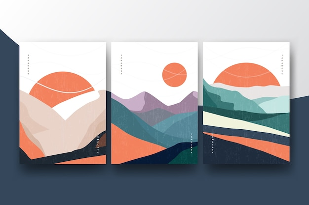 Cover collection with minimalist japanese theme Free Vector