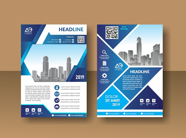 Cover design annual report magazine flyer or booklet in a4 with blue geometric shapes Premium Vector