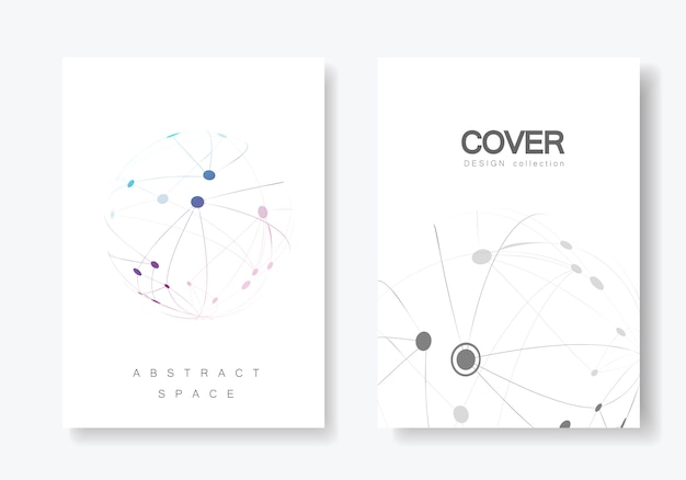 Cover design brochure with connected line and dots Premium Vector