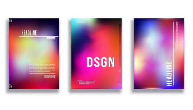 Cover design template - gradient colorful background Premium Vector