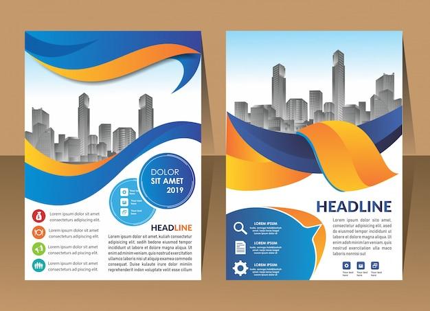 Cover design template modern annual report Premium Vector