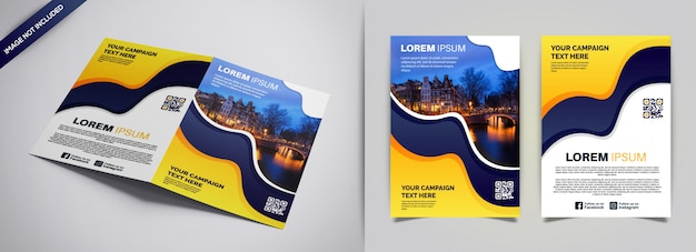 Cover flyer and brochure business template Premium Vector