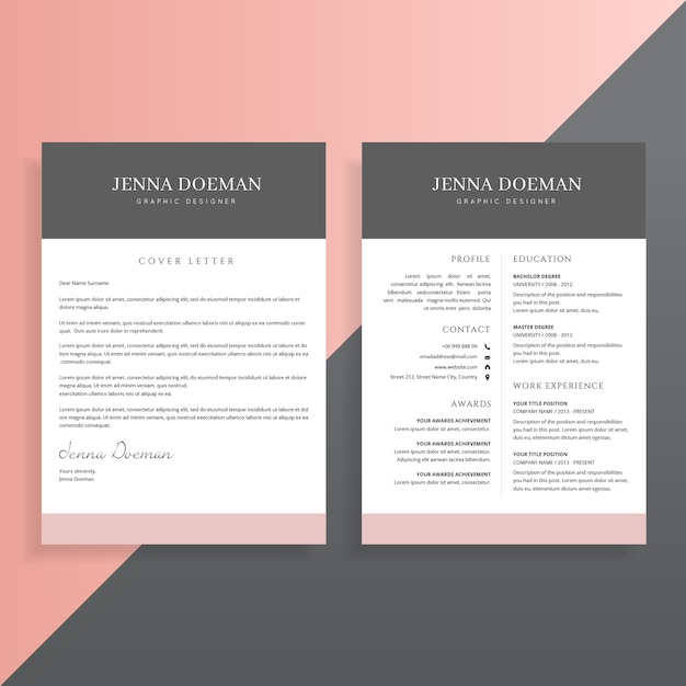 Premium Vector Cover Letter And Resume Cv Template Design Set