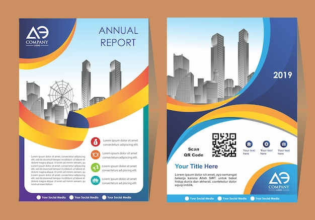 Cover of a modern business brochure layout or flyer template Premium Vector