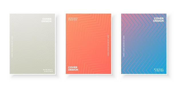 세 가지 색상으로 설정된 표지 템플릿 무료 벡터