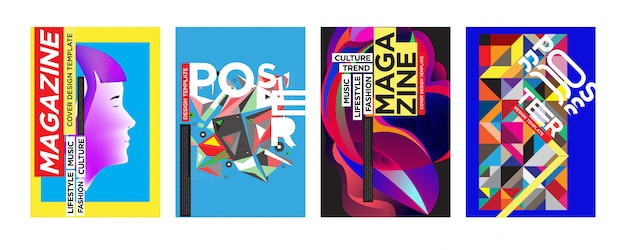 Cover and poster design template for magazine Premium Vector