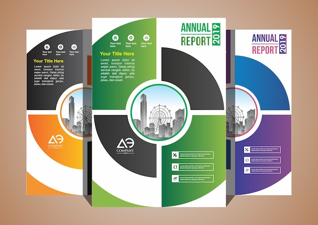 Cover set layout brochure magazine catalog with 3 color Premium Vector