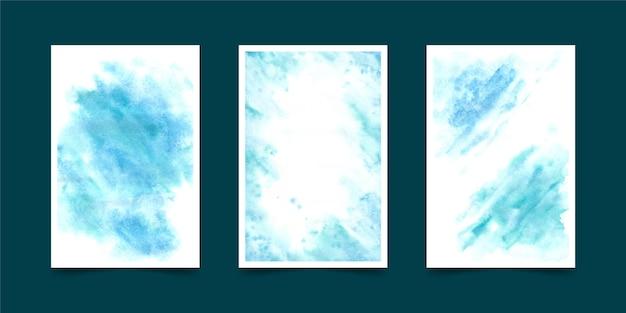 カバーセット水彩図形 無料ベクター