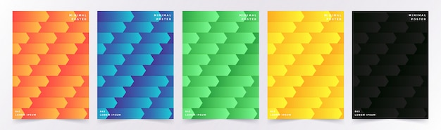 Cover set with abstract geometric pattern with cubes Premium Vector